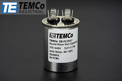 Temco 5 Mfd Uf Run Capacitor 370440 Vac Volts Ac Motor Hvac 5 Uf