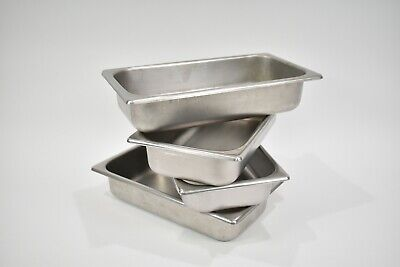 4 Set Stainless Steel Dental Medical Surgical Instrument Tub 12.5 X 6.75 X 2.5