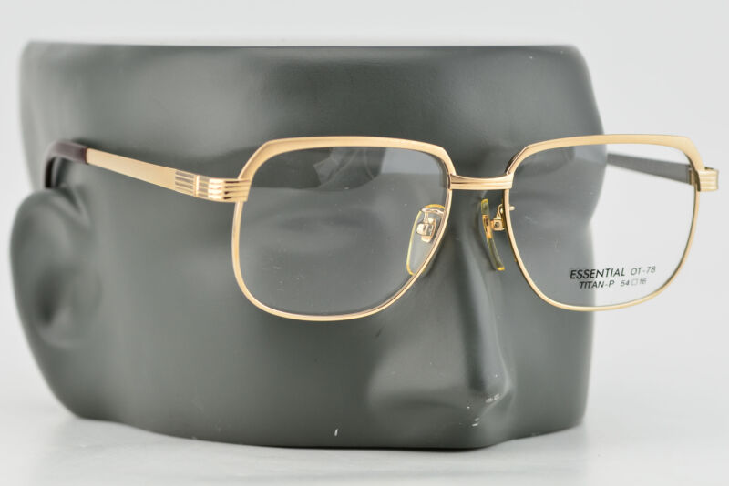 Vintage 90s Essential Gold Square Titanium Glasses Made in Japan NEW 54-16