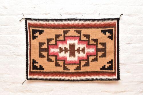 Vintage Navajo Blanket Rug native american indian Two Grey Hills Antique 27x18