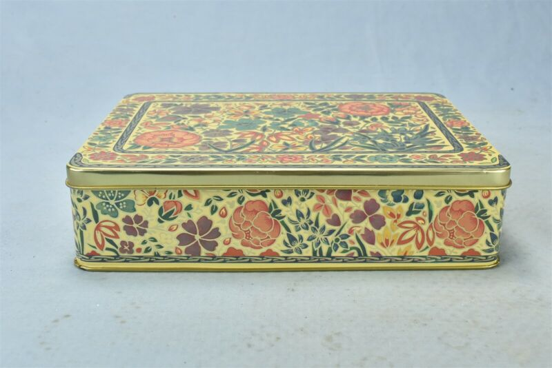Vintage FLORAL TIN CONTAINER MADE IN ENGLAND + PARTIAL FASHION STATIONERY #01198