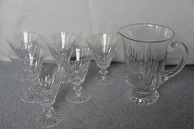 32 oz Jug / Pitcher & 6 Waterford Cut Crystal EILEEN Water Flared Goblets 32 Oz Crystal