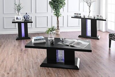 NEW MERLA CONTEMPORARY 3PC BLACK FINISH WOOD GLASS COFFEE END TABLE SET LED Contemporary Wood Finish Coffee Table