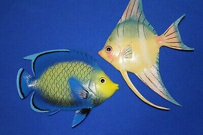 (2) Tropical Island Wall Decor Lifelike Reef fish, 3D-details, 6