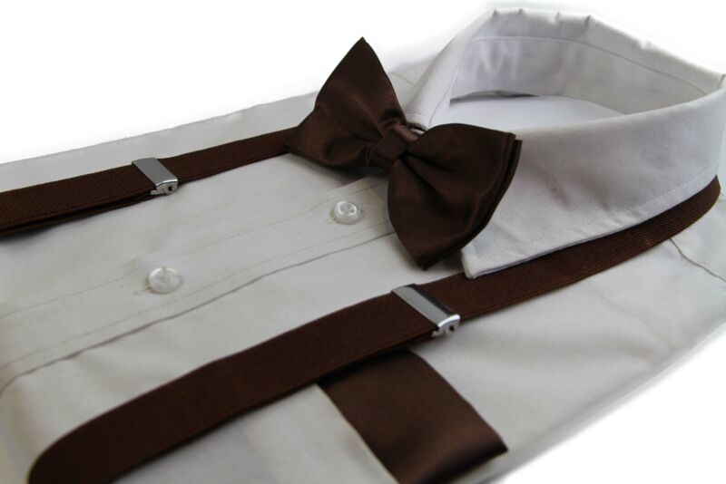 Mens Brown 100cm Suspenders & Matching Bow Tie & Pocket Square Set
