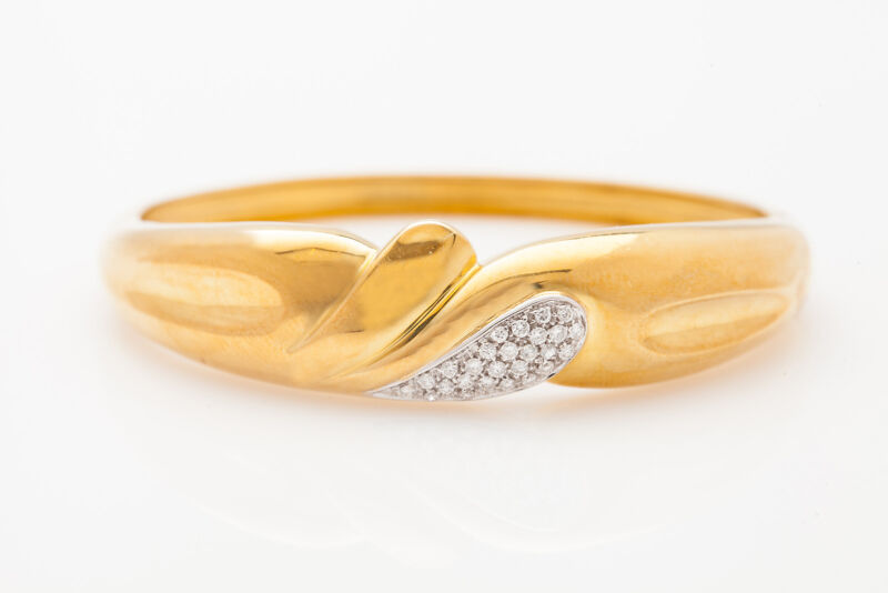 Vintage Roberto Coin $9000 1ct Vs G Diamond 18k Yellow Gold Bangle Bracelet