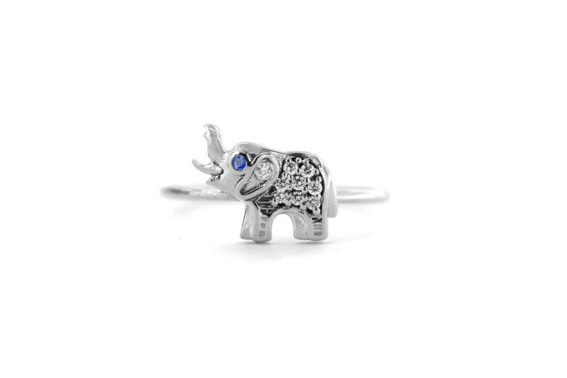 950 Platinum Genuine Diamond And Blue Sapphire Gemstone Elephant Ring Jewelry