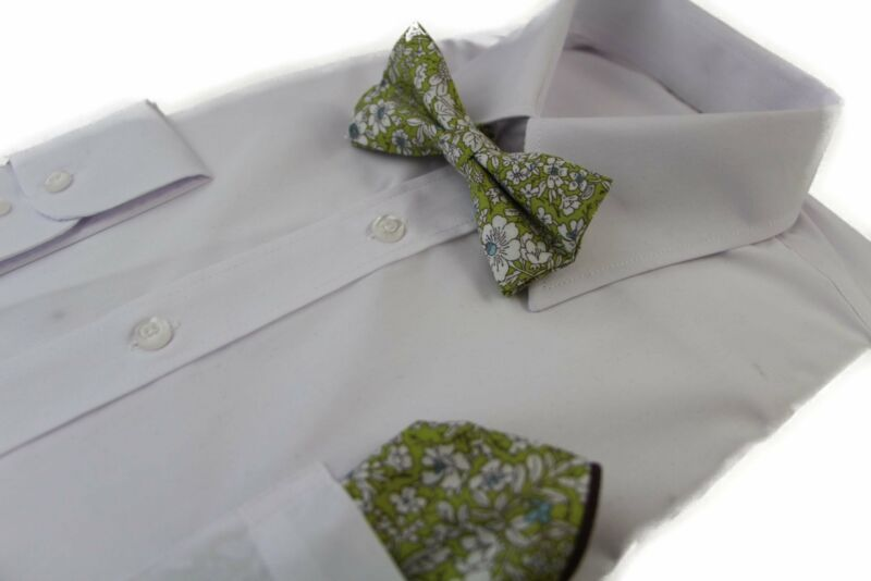 Mens Green With White Flowers Cotton Bow Tie & Pocket Square Set