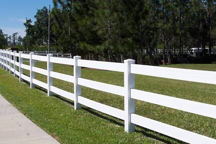 PVC fencing 3 Rail post and rail horse rural fencing