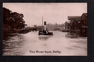 Selby - The River Ouse - real photographic postcard