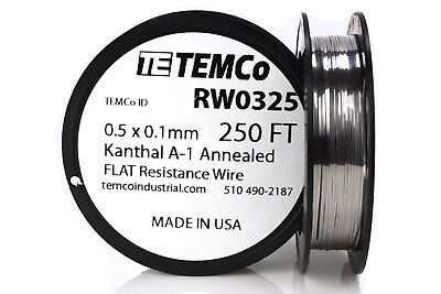Temco Flat Ribbon Kanthal A1 Wire 0.5mm X 0.1mm 250 Ft Resistance A-1