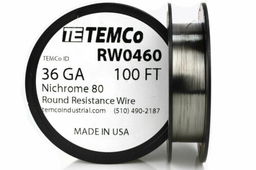 TEMCo Nichrome 80 series wire 36 Gauge 100 FT Resistance AWG ga