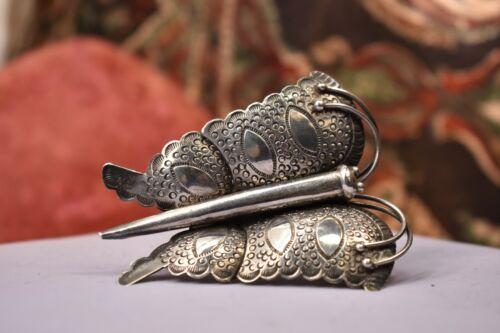 "Antique vintage huge sterling silver butterfly brooch 3 """