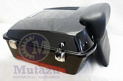 Mutazu Black Chopped Tour Pak Trunk with Backrest for Harley Touring FLHT FLTR