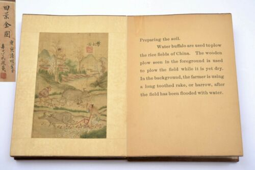 Chinese Silk 10 Mini Painting Album Book Wood Cover Missionary Story Rice AS IS