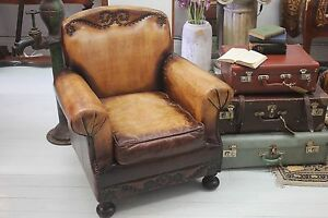 Tan Brown Genuine Leather Armchair, Stud Detail, Aged Look Sydney City Inner Sydney Preview