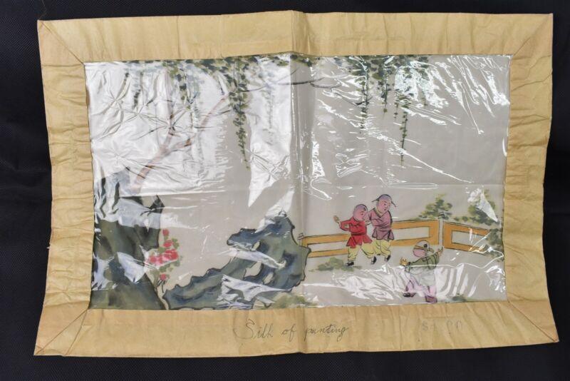 Original Japanese Painting On Silk Children Playing Hide And Seek