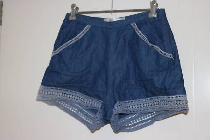 Women's cotton zip-up shorts