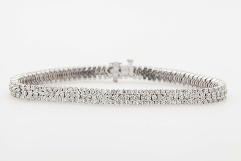 Designer $20,000 10ct Diamond 3 Row 18k White Gold Tennis Bracelet 24g