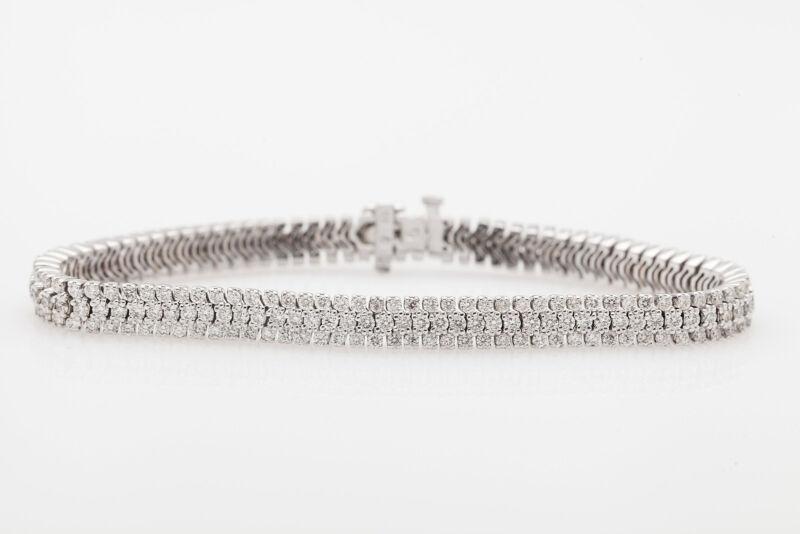 Designer $20,000 10ct Diamond 3 ROW 18k White Gold Tennis Bracelet 24g