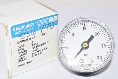 New Ashcroft 30 Psi Pressure Gauge 25w1005 H 02b Usa 14 Npt Back