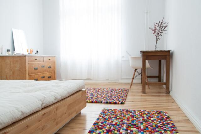 myfelt Lotte 140x200 cm Design-Teppich 100% Wolle Filzkugelteppich Kinderteppich