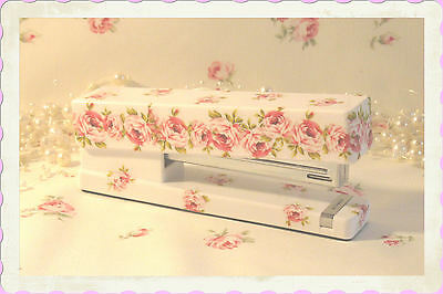 Roses STAPLER desk office scrapbooking flowers FLORAL pink shabby Fairy-tale chic