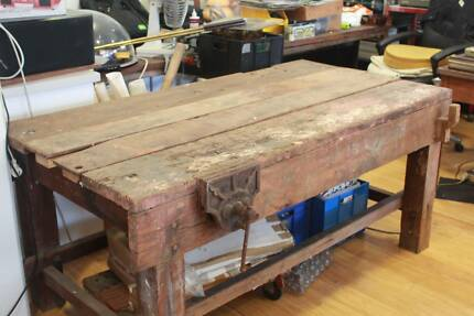 Antique jarrah work bench
