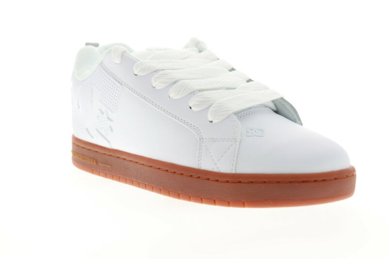 DC Court Graffik 300529 Mens White Leather Low Top Lace Up Skate Sneakers Shoes