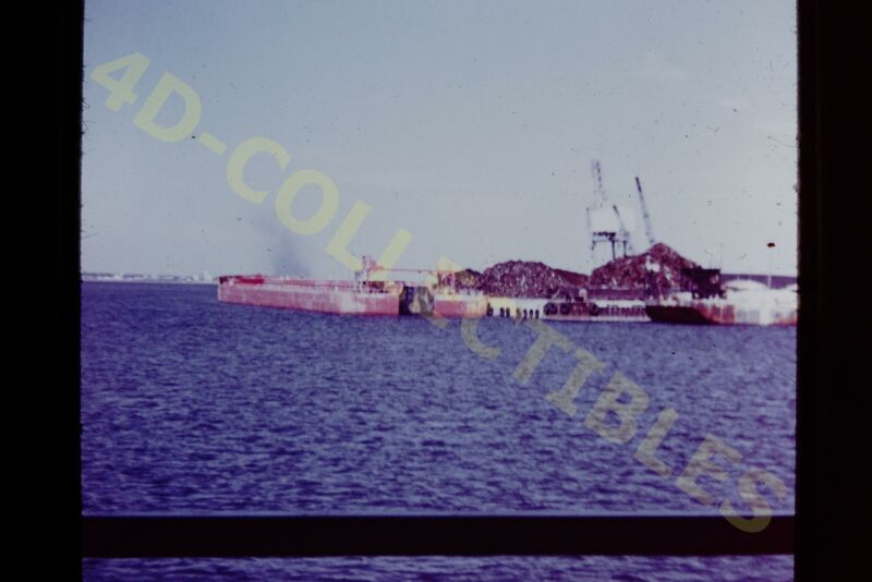 Original slide photo 1969 Port Tampa FL Barges Scrapyard Crane