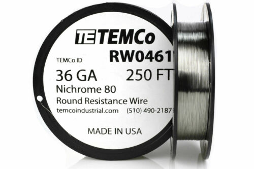 TEMCo Nichrome 80 series wire 36 Gauge 250 FT Resistance AWG ga