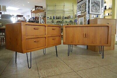 Schrank Leg (DYRLUND Teak Sideboard Kommode Schrank 70er Jahre m. Hairpin Legs Danish Design)