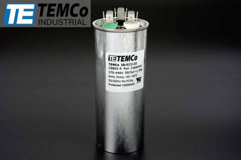 TEMCo 50/5 MFD uF Dual Run Capacitor 370 440 vac Volts AC Motor HVAC 50+5