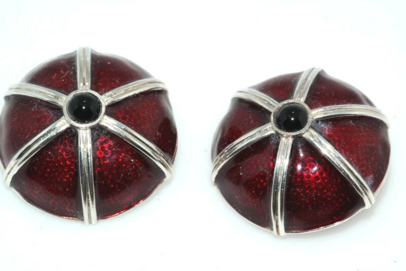 Designer Red Guilloche Enamel Onyx Cab Sterling Silver Button Clip Back Earrings