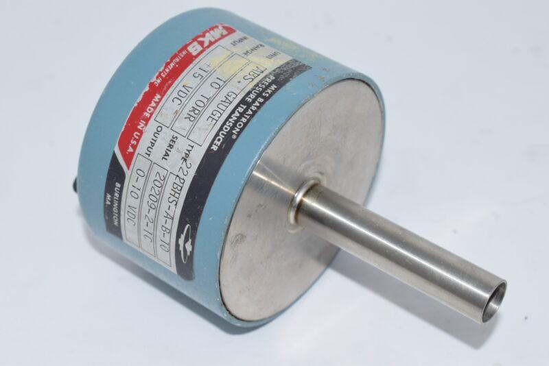 MKS Baratron 222BHS-A-B-10 Pressure Transducer 10 TORR 0-10 VDC 115VDC
