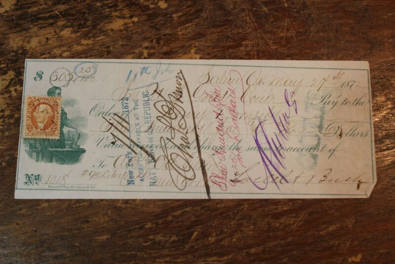 BANK CHECK SALEM OR. IN US GOLD COIN 1872 W/ 1ST ISSUE REVENUE STAMP