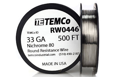 Temco Nichrome 80 Series Wire 33 Gauge 500 Ft Resistance Awg Ga