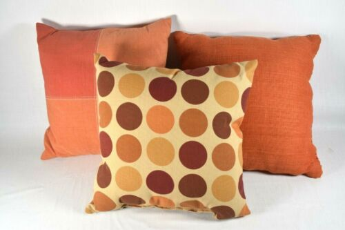"""Qty.3 Accent Throw Pillows MIXED LOT - ORANGE-POLKA DOT-CORAL 16"""" ÇRATE&BARREL"""