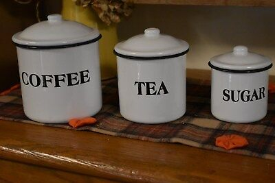 NEW SET OF 3  ENAMELWARE CANISTERS COFFEE TEA SUGAR KITCHEN FARMHOUSE PRIMITIVE