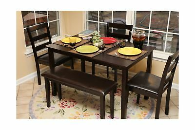 Home Life 5pc Dining Dinette Table Chairs & Bench Set Espres