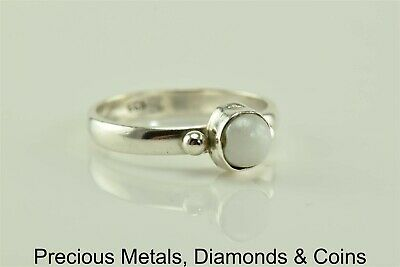 Ring Bezel Set Gem Bead - Sterling Silver Bezel Set White Coral Button Bead Accented Band Ring 925 Sz: 8.5