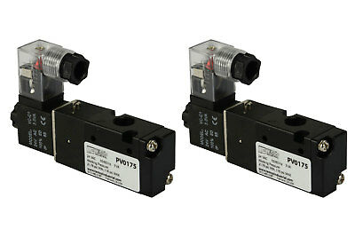 2x 24v Ac Solenoid Air Pneumatic Control Valve 3 Port 3 Way 2 Position 18 Npt