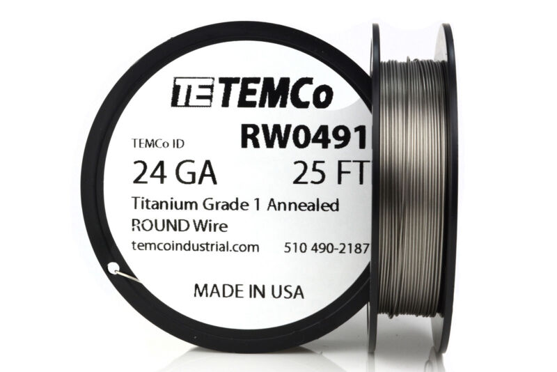 TEMCo Titanium Wire 24 Gauge 25 FT Surgical Grade 1 Resistance AWG ga