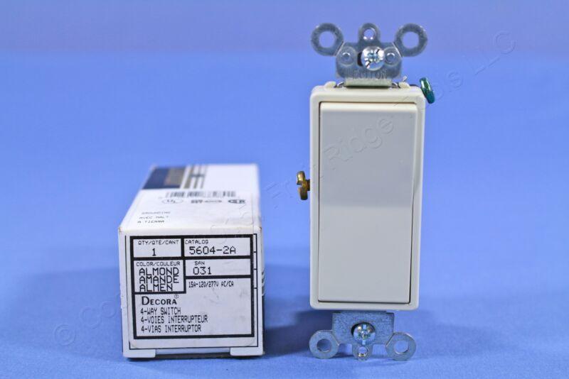 New Leviton Almond 4-Way Decora Light Smooth Rocker Switch 15A 120/277V 5604-2AS