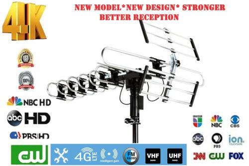 4K 1080P Outdoor TV Antenna 200 Mile Amplified HDTV Antenna Digital 360°Rotation