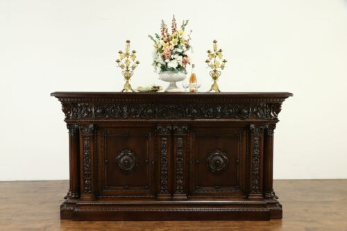 Italian Palace Antique Renaissance Carved Sideboard, Bar, Dowry Cabinet #36018
