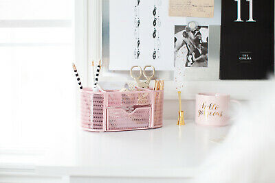 Blu Monaco Pink Desk Organizer With Drawer - For Home Or Office