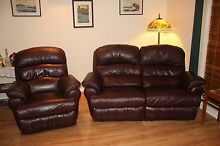 Antique Plum Leather 2 1/2 Recliner Lounge plus a Recliner Chair Wilberforce Hawkesbury Area Preview