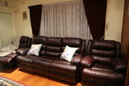 Leather Recliner Lounge Suite - Two Chairs Glenroy Moreland Area Preview