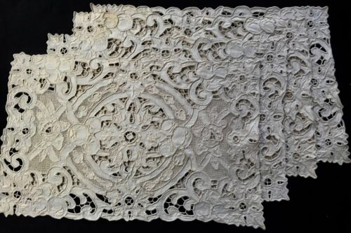 Antique Four Linen Dinner Placemats Elaborate Drawn-thread Madeira Embroidery